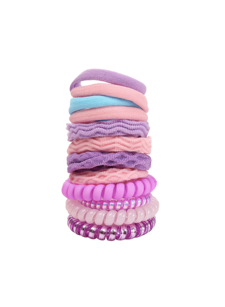 Fashion Favorite Haar Elastiek Set 12 stuks - Paars/Roze