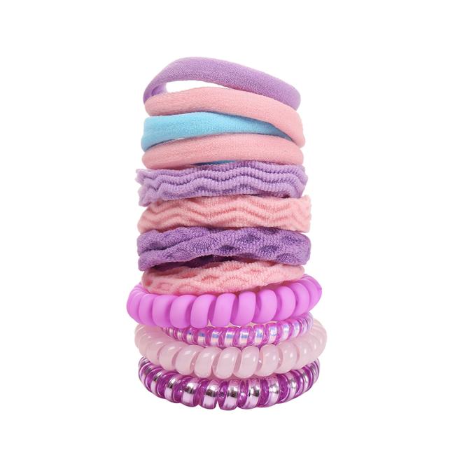 Haar Elastiek Set - Paars/Roze   12 stuks   Fashion Favorite