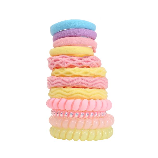Haar Elastiek Set - Geel/Roze | 12 stuks | Fashion Favorite