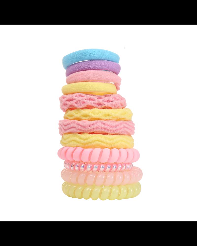 Fashion Favorite Haar Elastiek Set - Geel/Roze | 12 stuks | Fashion Favorite