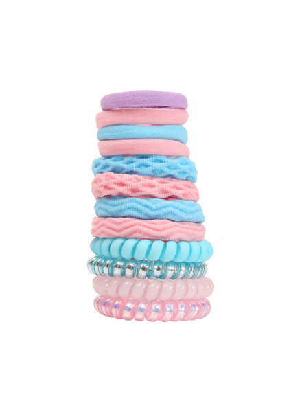 Fashion Favorite Haar Elastiek Set 12 stuks - Blauw/Roze