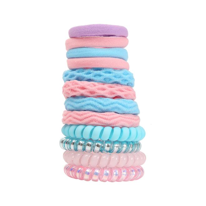 Haar Elastiek Set - Blauw/Roze | 12 stuks | Fashion Favorite