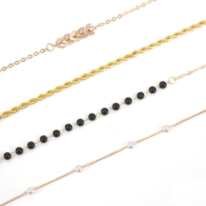 Zonnebril Ketting / Brillenkoord | Black Balls | Zwart/Goudkleurig | 76 cm
