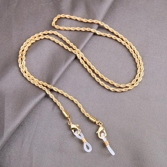 Zonnebril Ketting / Brillenkoord | Twisted Gold | Goudkleurig | 74 cm
