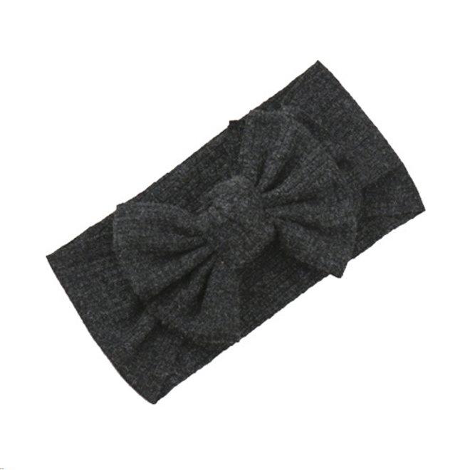 Kinder Haarband | Strik / Bow | Antraciet
