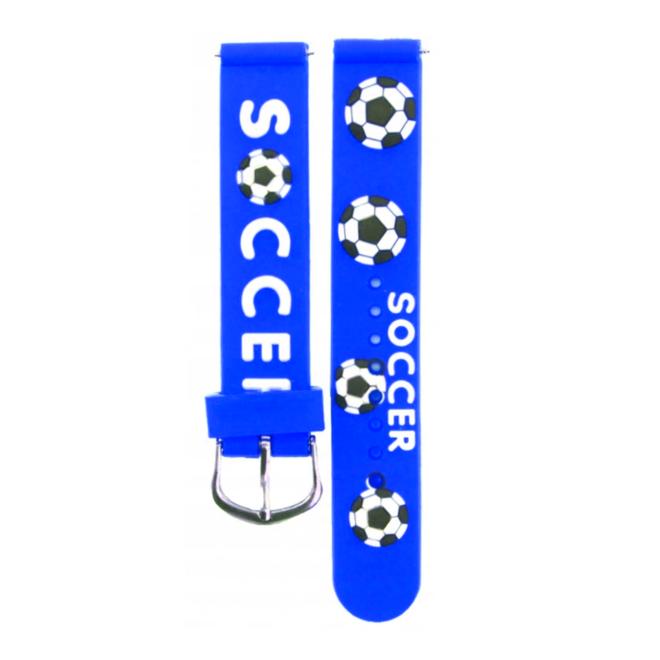 Kinder Horloge   3D Voetbal / Soccer Blauw   Siliconen
