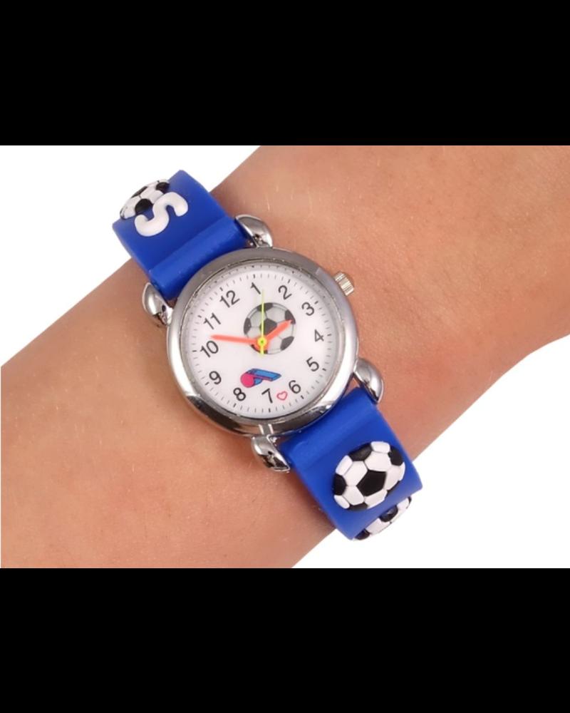 Fashion Favorite Kinder Horloge | 3D Voetbal / Soccer Blauw | Siliconen