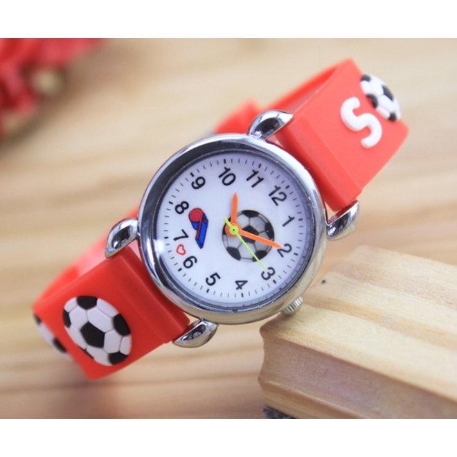 Kinder Horloge | 3D Voetbal / Soccer Rood | Siliconen