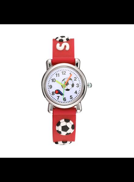 Fashion Favorite Kinder Horloge | Voetbal Rood 3D