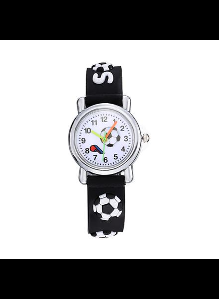 Fashion Favorite Kinder Horloge | Voetbal Zwart 3D