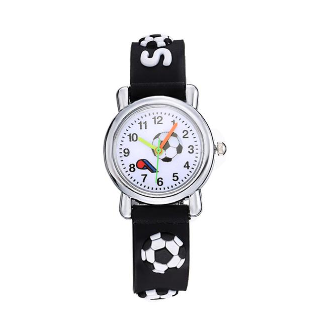Kinder Horloge | 3D Voetbal / Soccer Zwart | Siliconen