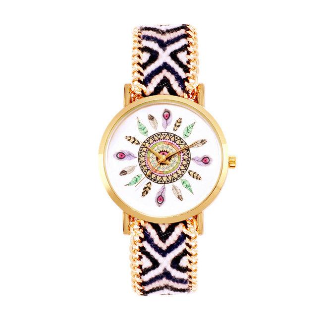 Ibiza Feather Boho Horloge   Zwart/Wit/Goudkleurig   Acryl