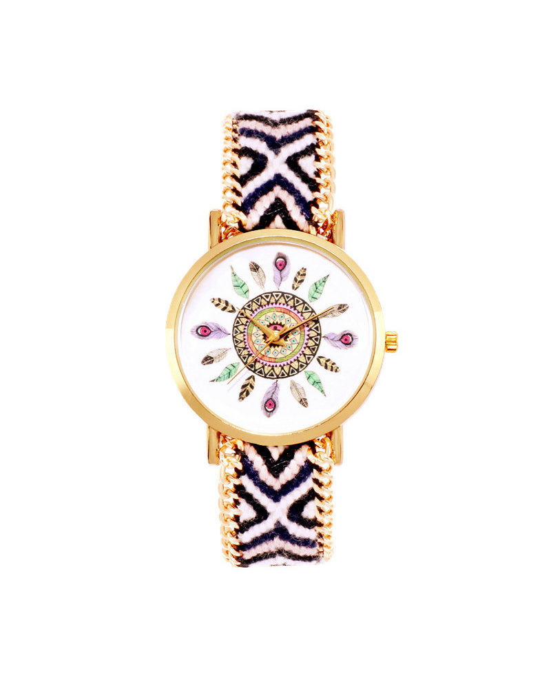 Fashion Favorite Ibiza Feather Boho Horloge | Zwart/Wit/Goudkleurig | Acryl