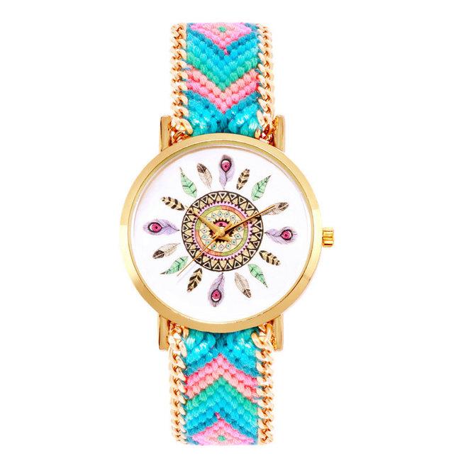 Ibiza Feather Horloge | Blauw/Roze