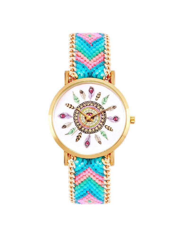 Fashion Favorite Ibiza Feather Boho Horloge | Blauw/Roze/Goudkleurig | Acryl