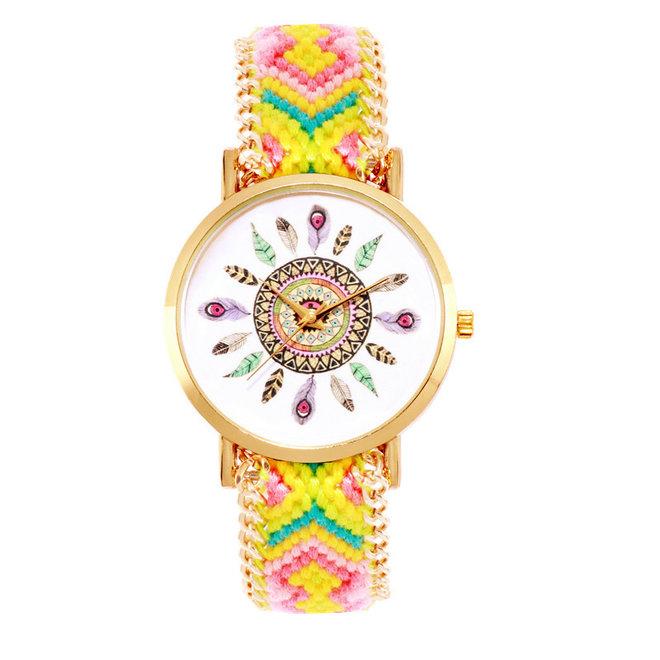 Ibiza Feather Horloge   Geel/Roze