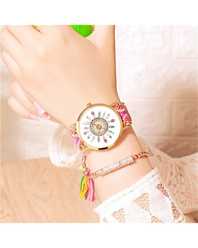 Fashion Favorite Ibiza Feather Boho Horloge | Geel/Roze/Goudkleurig | Acryl