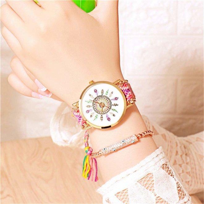 Ibiza Feather Boho Horloge | Blauw/Roze/Goudkleurig | Acryl