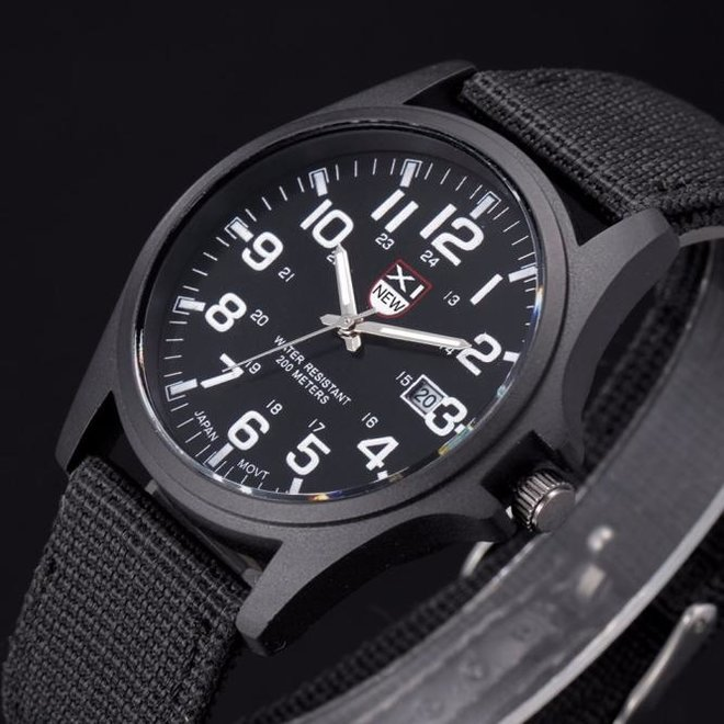 New Military Horloge | Zwart | Nylon