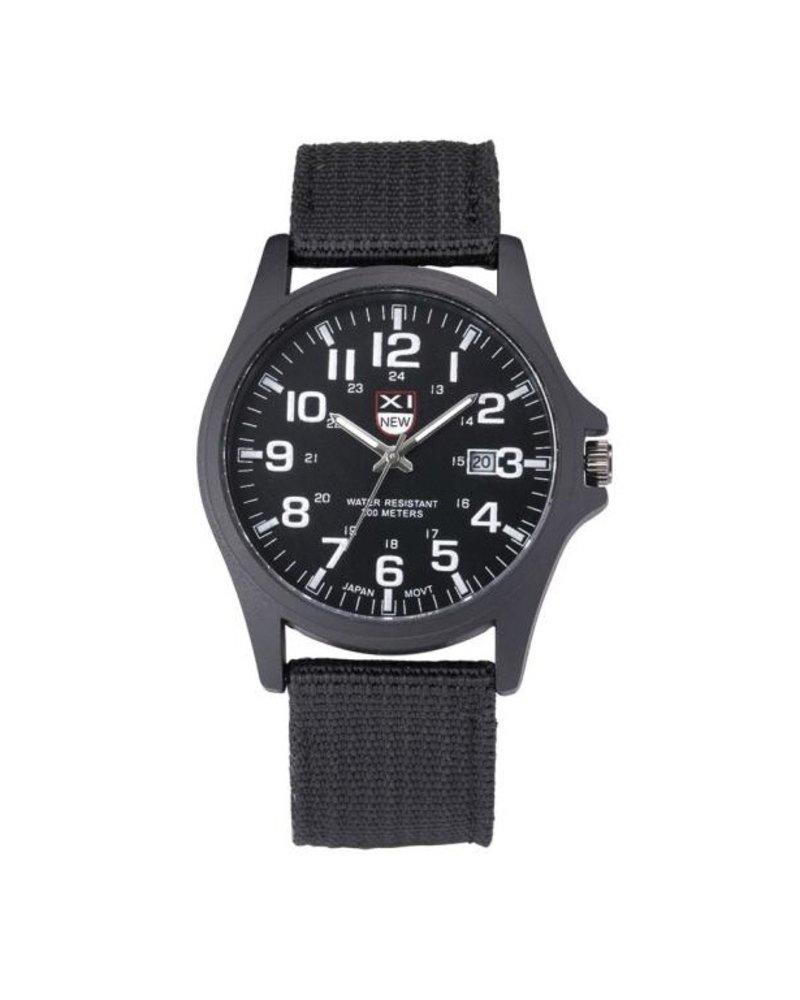 Fashion Favorite New Military Horloge | Zwart | Nylon