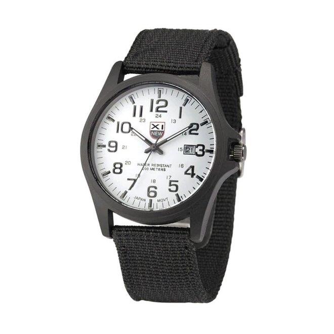 New Military Horloge | Zwart/Wit | Nylon