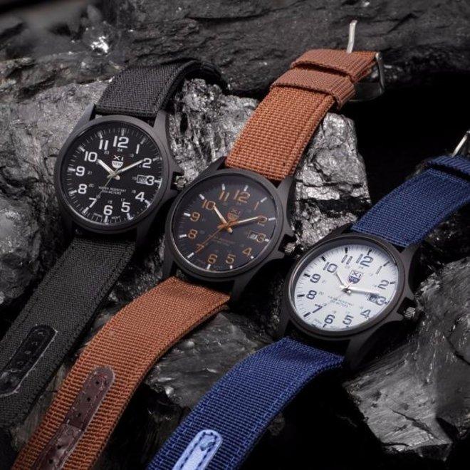 New Military Horloge | Bruin | Nylon