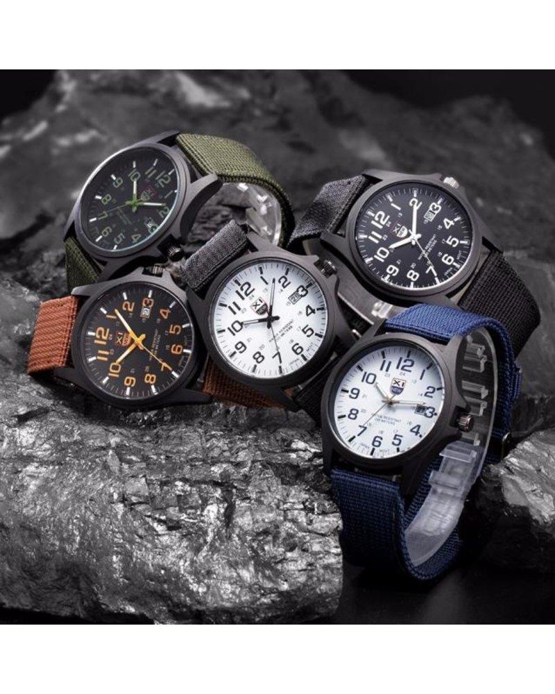 Fashion Favorite New Military Horloge | Blauw | Nylon