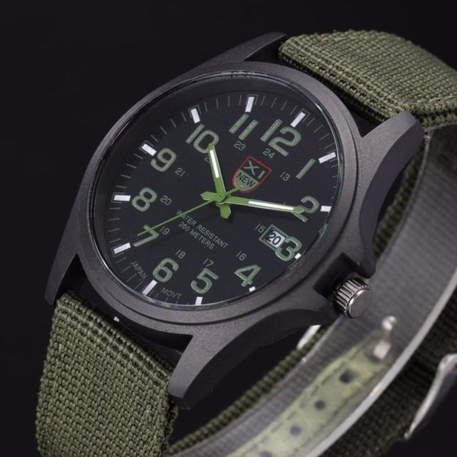 New Military Horloge | Groen | Nylon