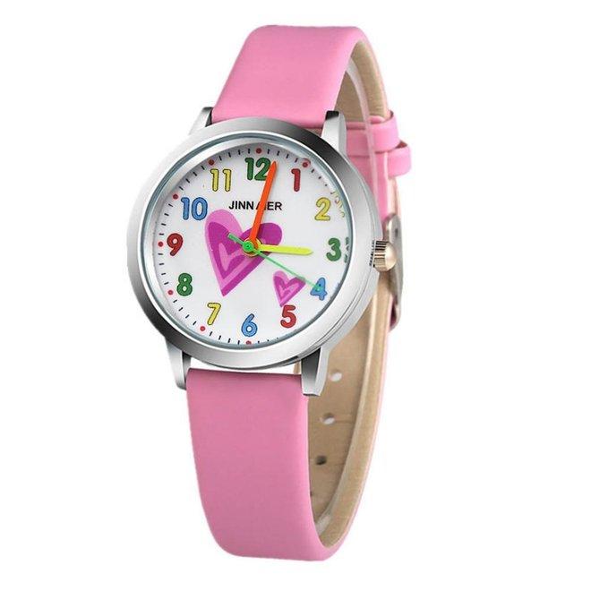 Kinder Horloge | Hartje Lichtroze