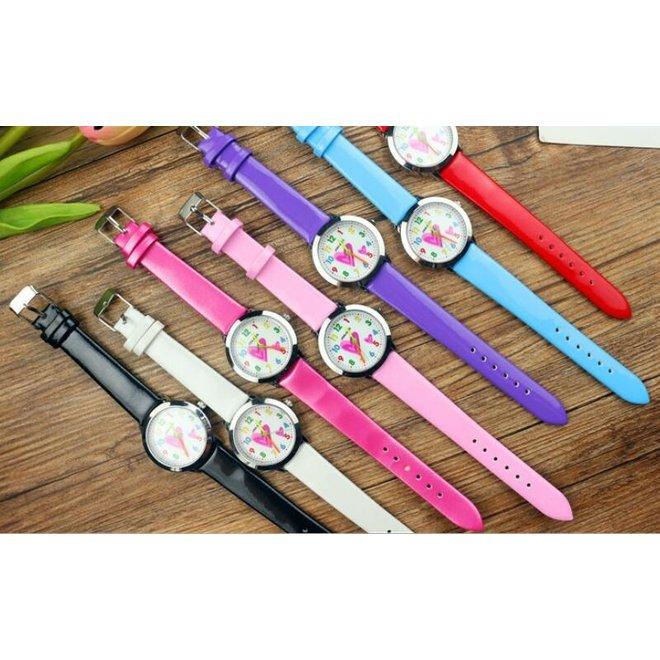 Kinder Horloge   Hartje Zwart   Kunstleer