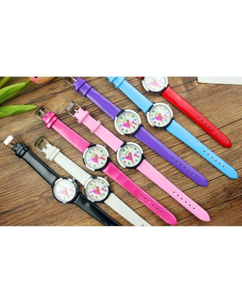 Fashion Favorite Kinder Horloge   Hartje Zwart   Kunstleer