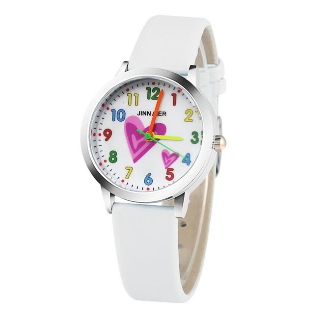Kinder Horloge | Hartje Wit | Kunstleer