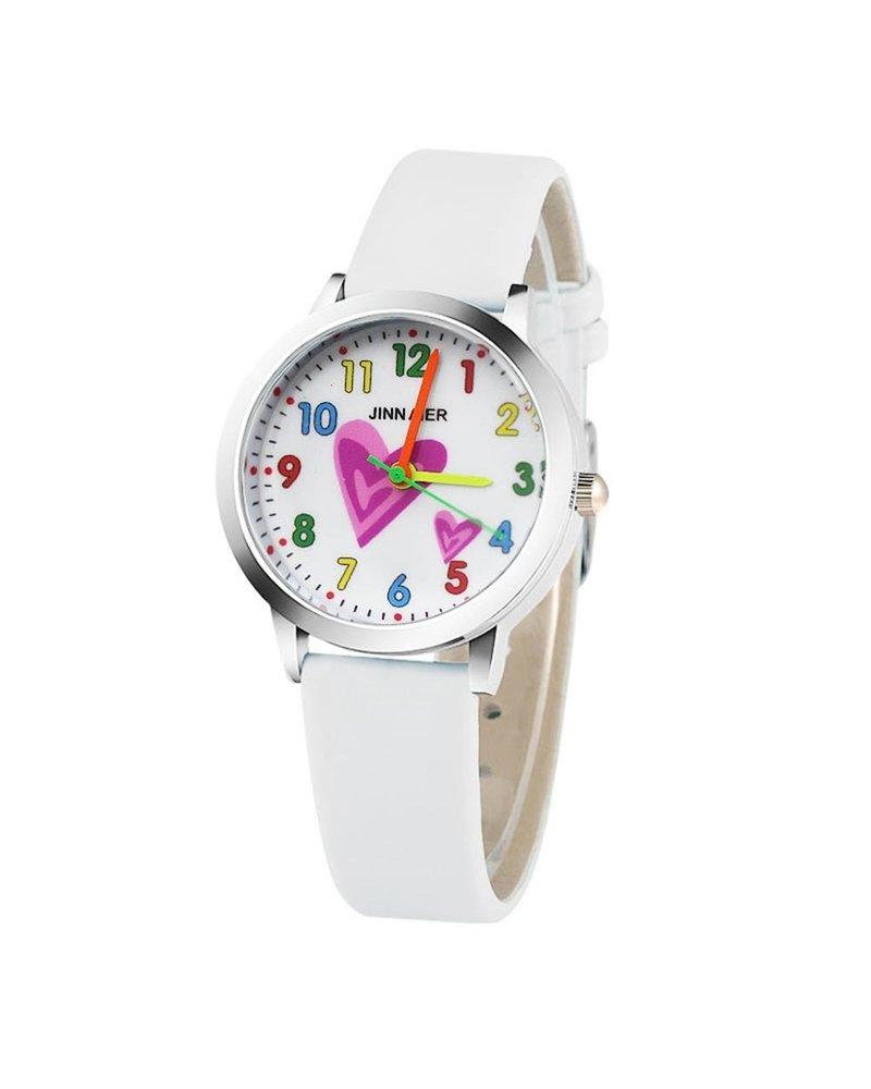 Fashion Favorite Kinder Horloge | Hartje Wit | Kunstleer