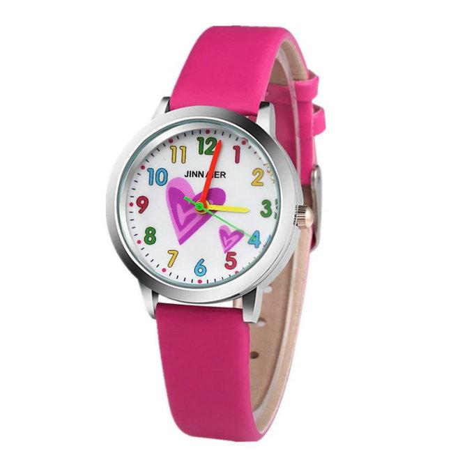 Kinder Horloge | Hartje Roze | Kunstleer