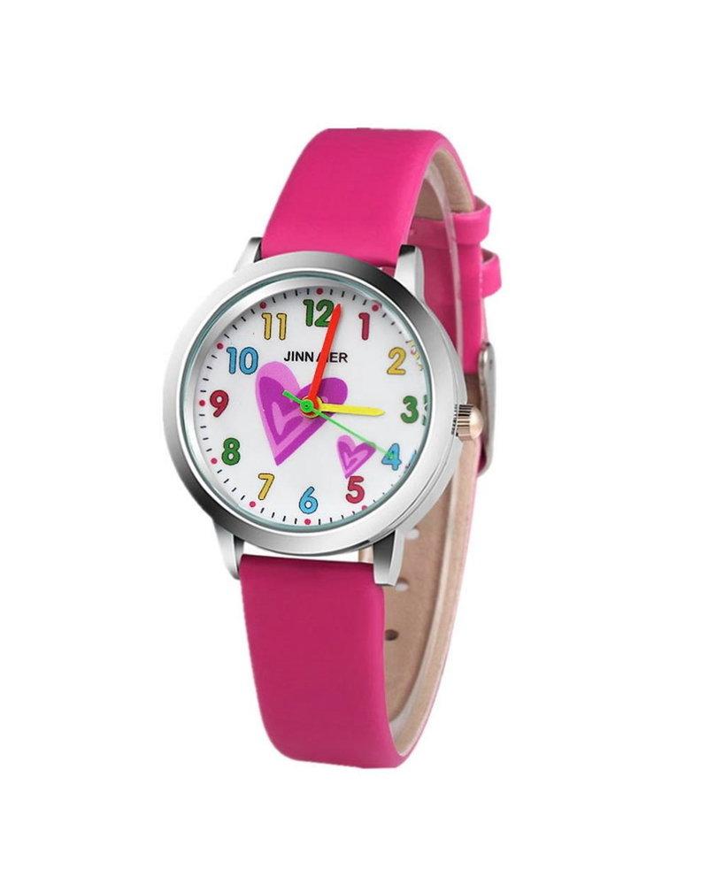 Fashion Favorite Kinder Horloge   Hartje Roze   Kunstleer