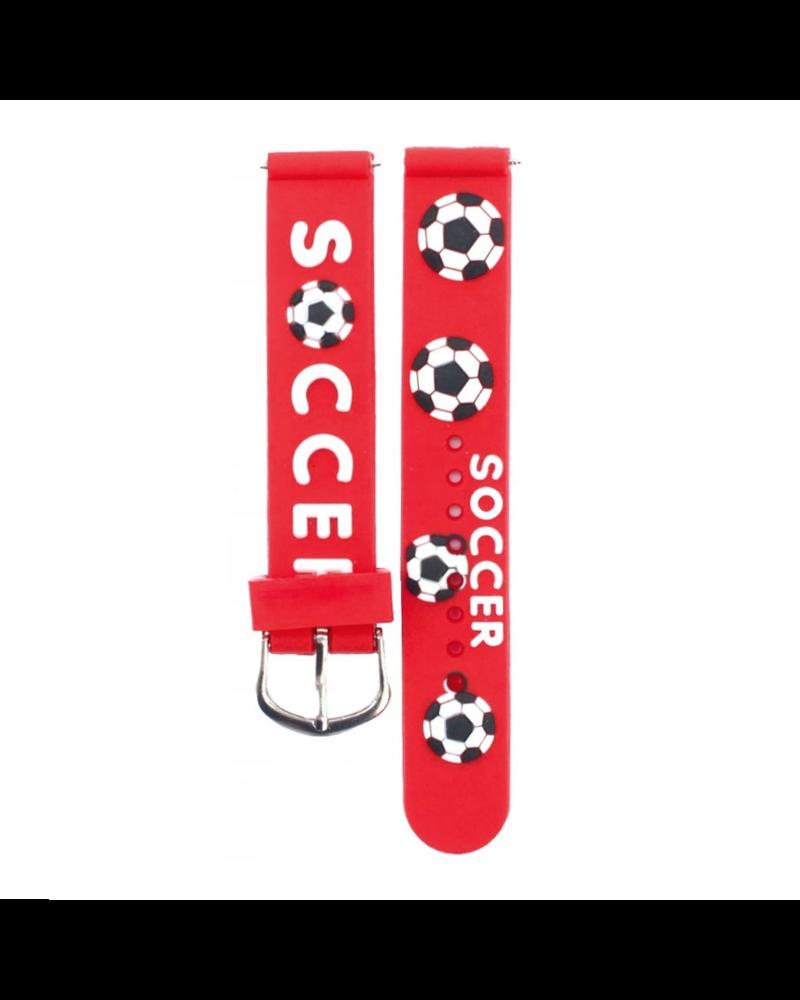 Fashion Favorite Kinder Horloge   3D Voetbal / Soccer Rood   Siliconen