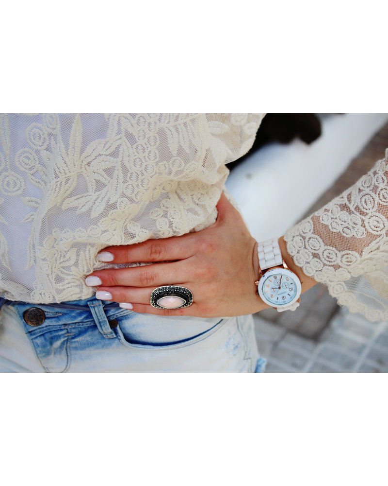 Geneva Geneva Siliconen Wit Horloge