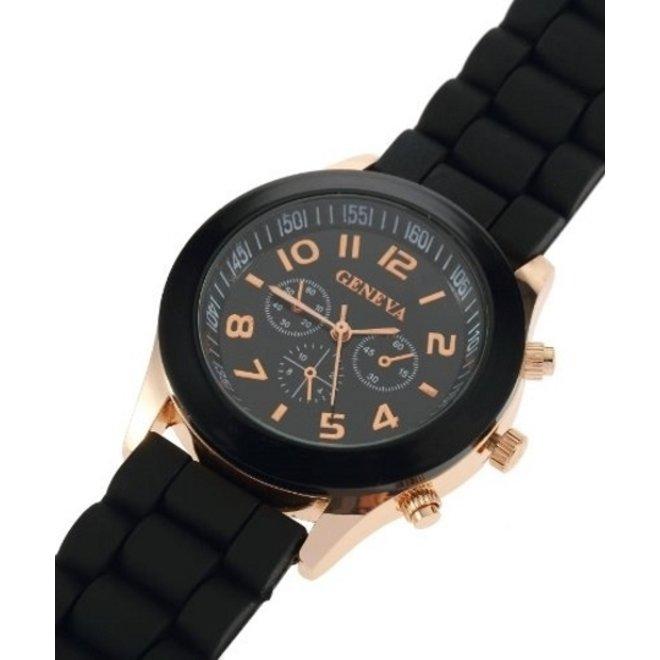 Geneva Siliconen Zwart Horloge