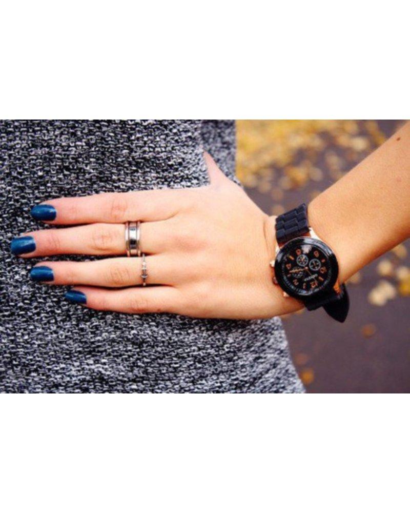 Geneva Geneva Siliconen Zwart Horloge