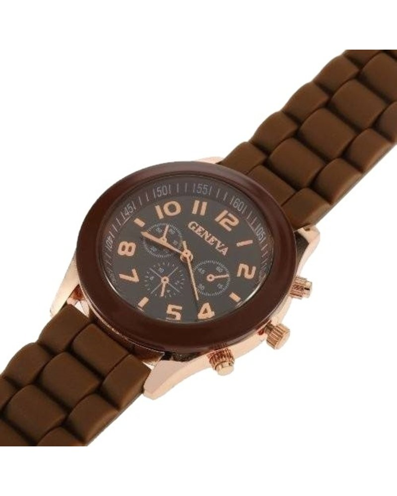 Geneva Geneva Siliconen Bruin Horloge