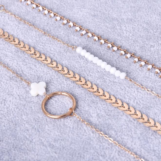 Set Armbanden Luck   4 - delig   Goudkleurig   18 - 20 cm