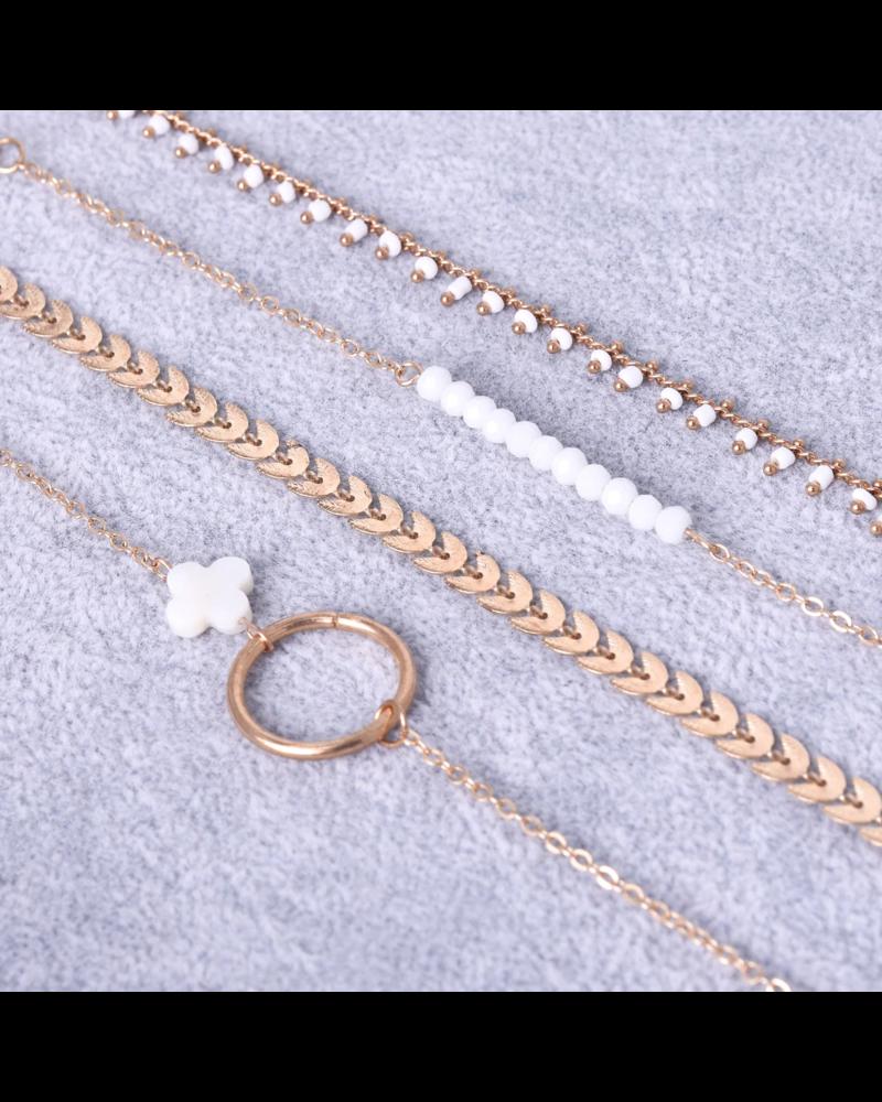 Fashion Favorite Set Armbanden Luck   4 - delig   Goudkleurig   18 - 20 cm