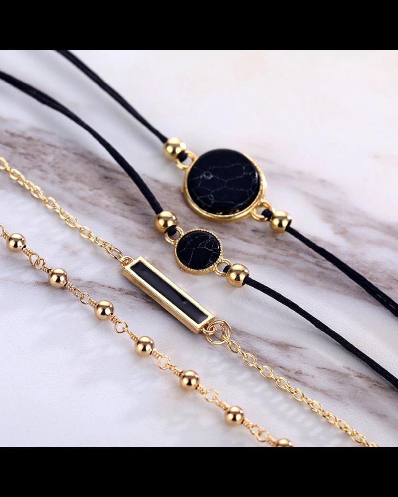 Fashion Favorite Set Armbanden Black Marble   4 - delig   Goudkleurig   18 cm