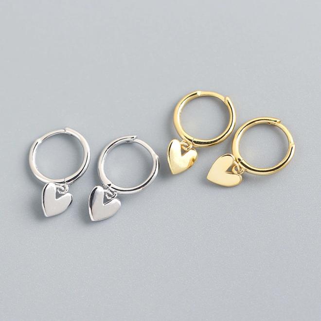 Oorbellen Hartje | Zilverkleurig | 925 Zilver | Oorringen 8,5 mm