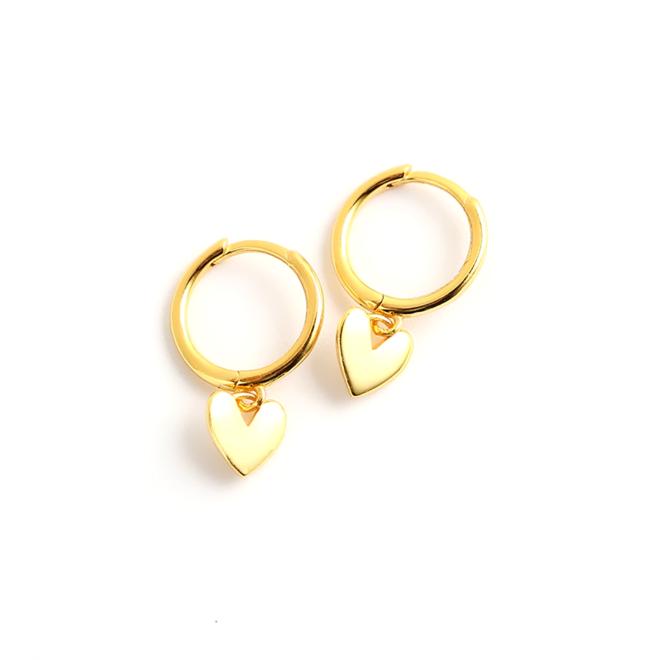 Oorbellen Hartje | Goudkleurig | 925 Zilver | Oorringen 8,5 mm