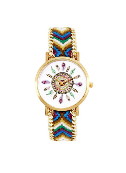 Fashion Favorite Ibiza Feather Horloge | Bruin/Groen