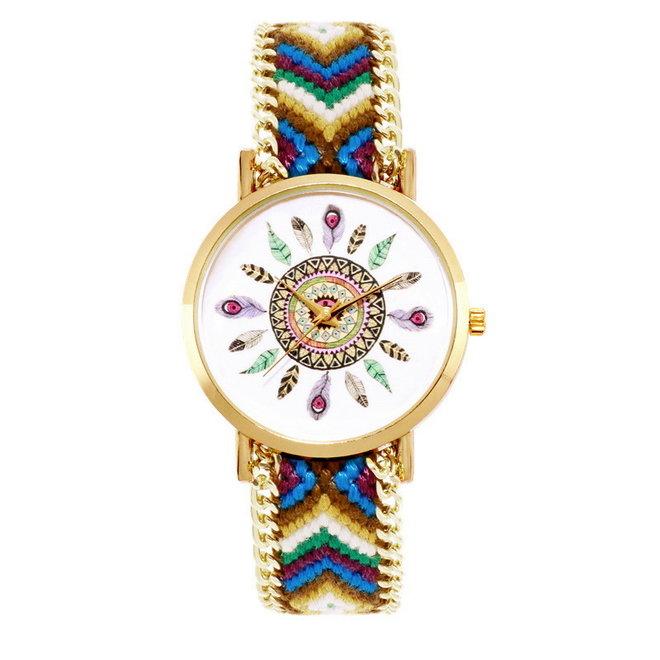 Ibiza Feather Boho Horloge | Bruin/Groen/Goudkleurig | Acryl