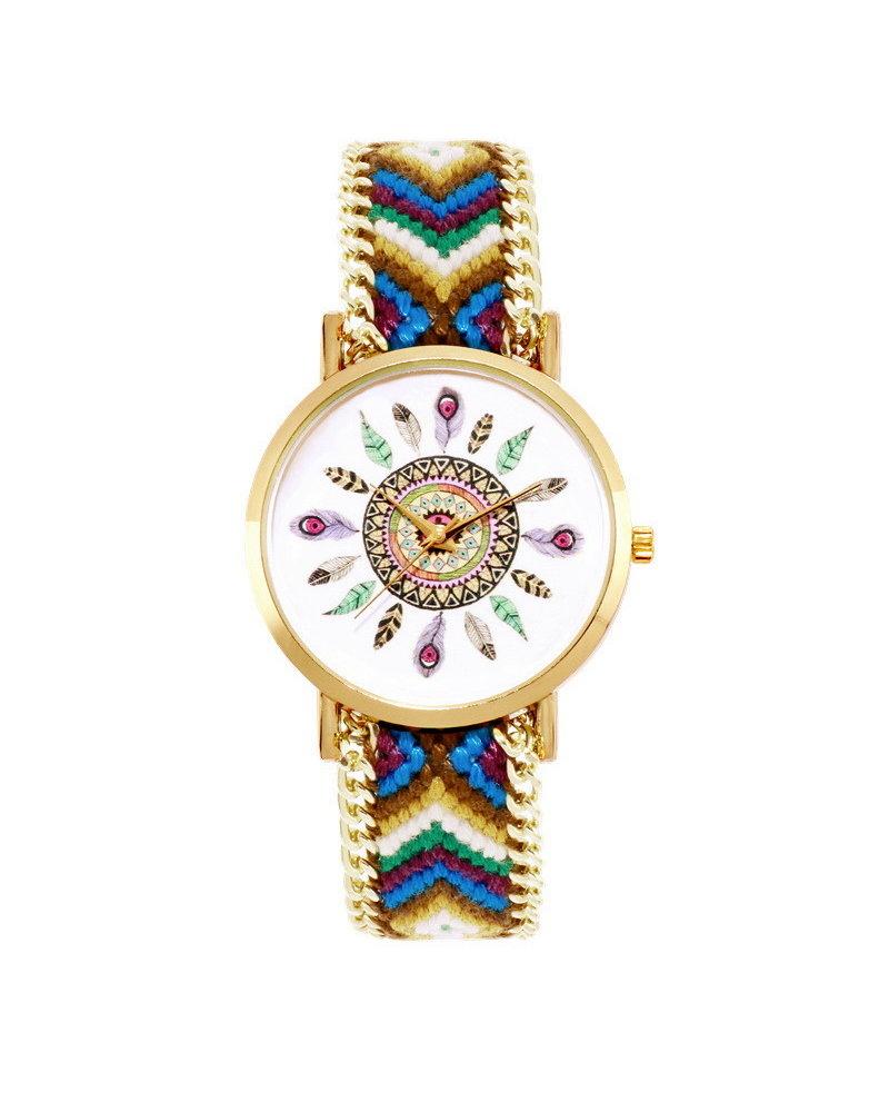Fashion Favorite Ibiza Feather Boho Horloge | Bruin/Groen/Goudkleurig | Acryl