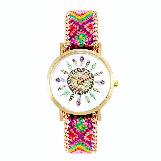 Ibiza Feather Horloge | Paars/Roze