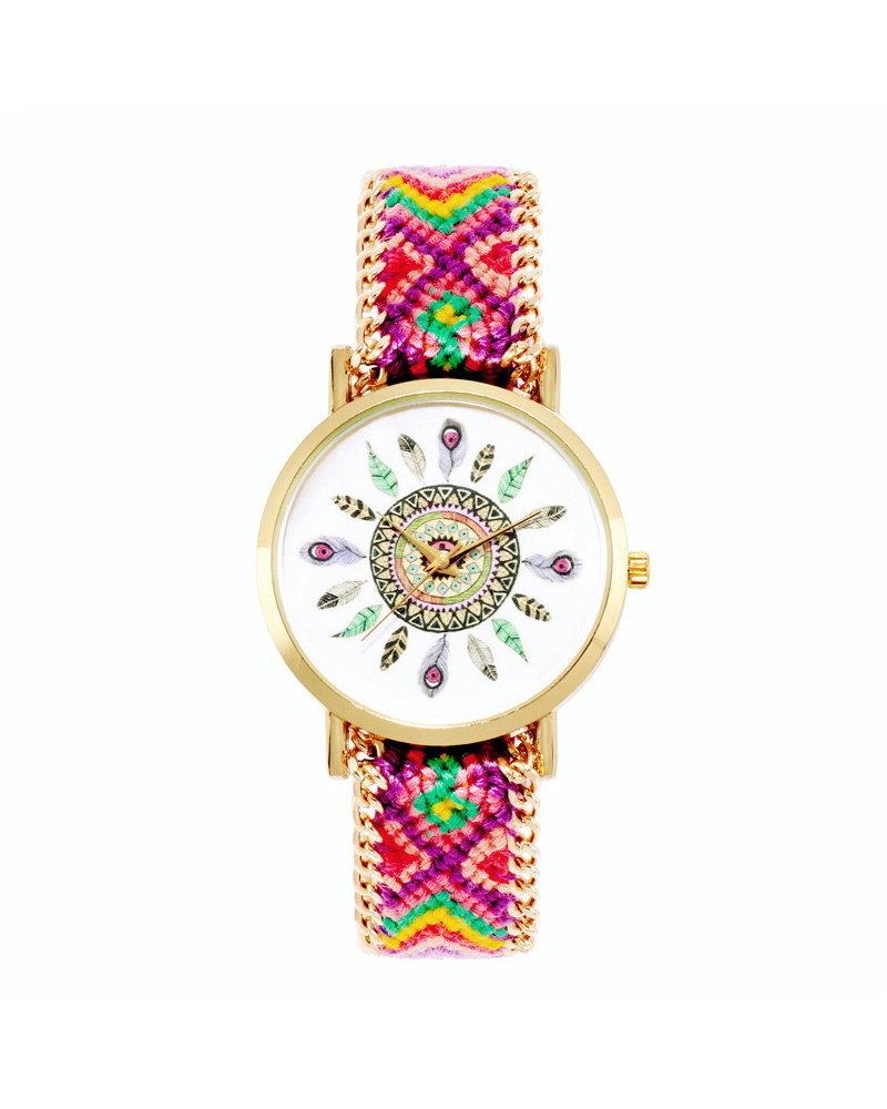 Fashion Favorite Ibiza Feather Boho Horloge   Paars/Rood/Goudkleurig   Acryl - Copy